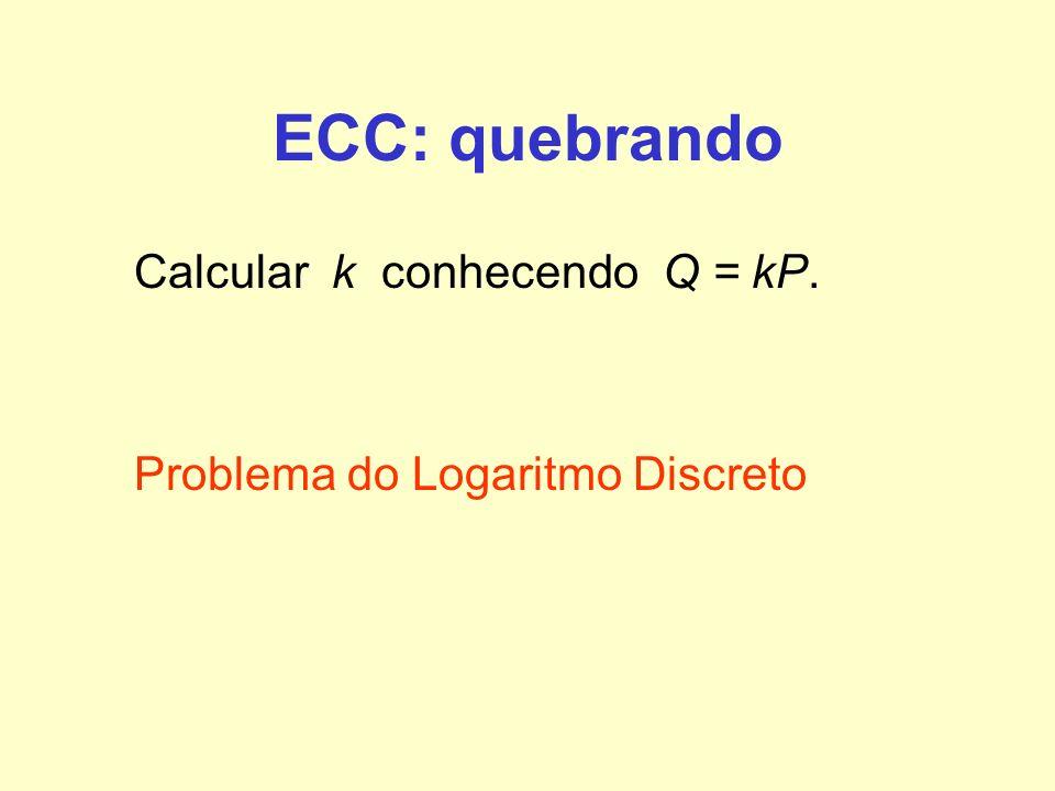 ECC: quebrando Calcular k conhecendo Q = kP. Problema do Logaritmo Discreto