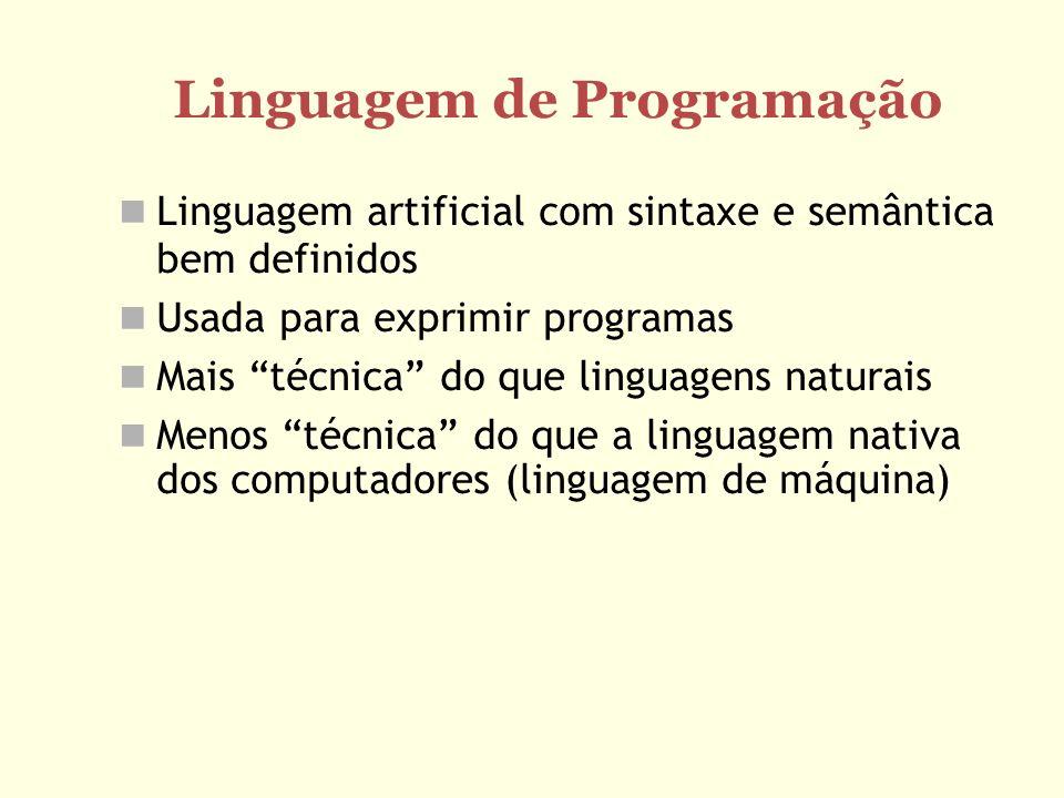 Diferença entre linguagem interpretada e compilada Compilador traduz do código fonte (ex: Pascal ou C++) para um executável (linguagem de máquina) Compilador Programa fonte Programa objeto Simulam uma máquina virtual Programa fonte é lido, entendido e as instruções são executadas imediatamente Interpretador Programa fonte Entrada Saída