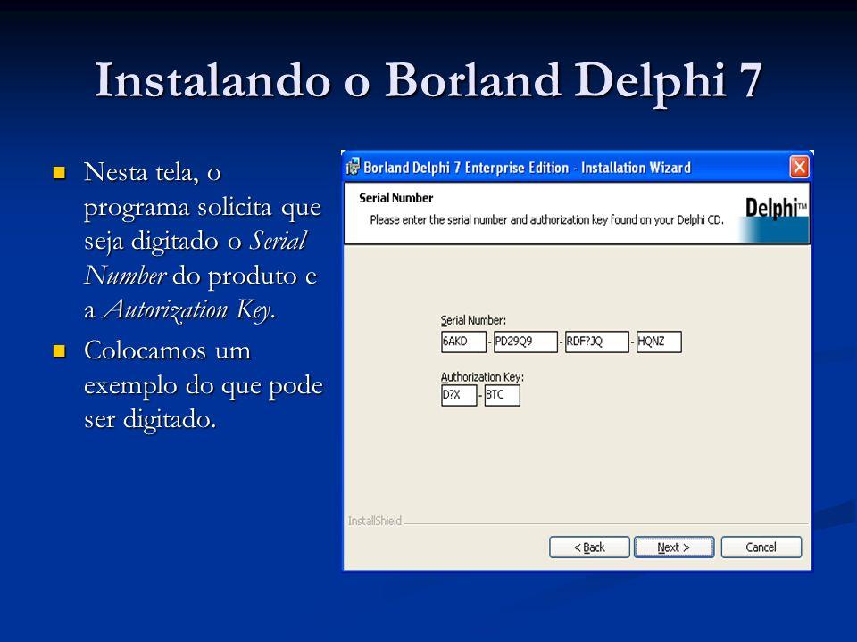 Instalando o Borland Delphi 7 Nesta tela, o programa solicita que seja digitado o Serial Number do produto e a Autorization Key. Nesta tela, o program