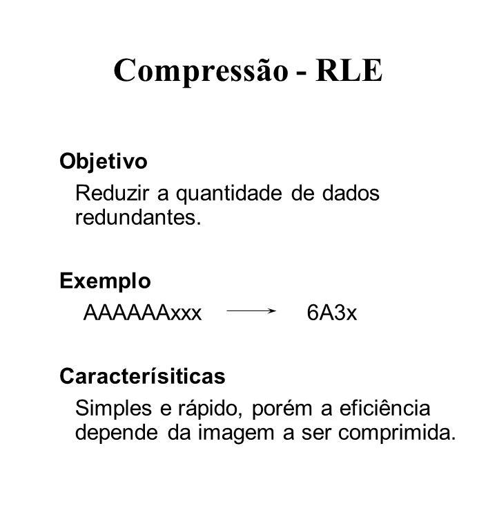 Compressão - RLE Objetivo Reduzir a quantidade de dados redundantes. Exemplo AAAAAAxxx6A3x Caracterísiticas Simples e rápido, porém a eficiência depen