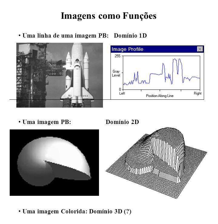 Imagens como Funções Uma linha de uma imagem PB: Domínio 1D Uma imagem Colorida: Domínio 3D (?) Uma imagem PB:Domínio 2D