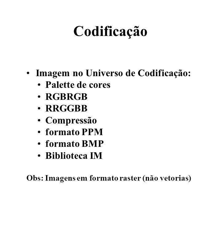 Codificação Imagem no Universo de Codificação: Palette de cores RGBRGB RRGGBB Compressão formato PPM formato BMP Biblioteca IM Obs: Imagens em formato