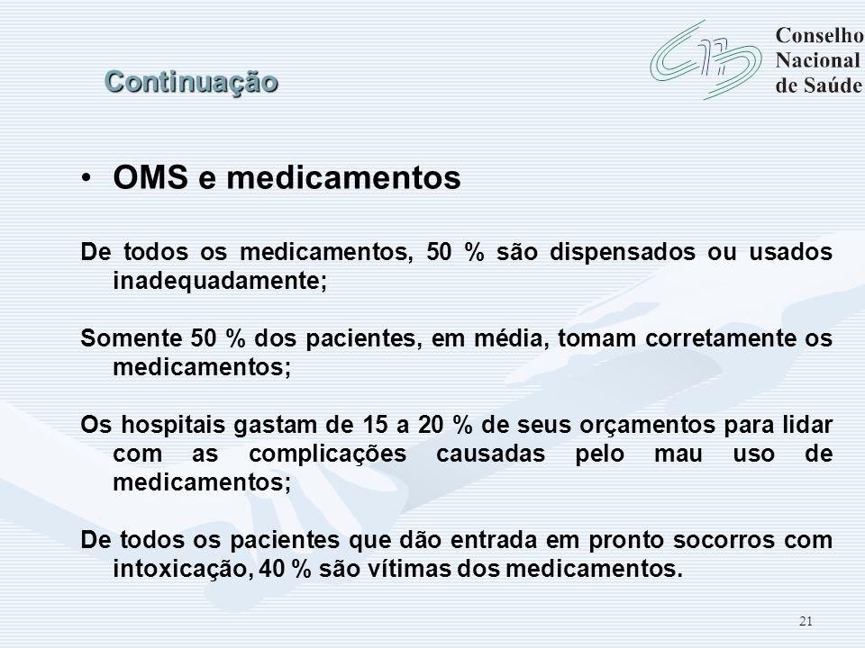 21 Continuação OMS e medicamentos De todos os medicamentos, 50 % são dispensados ou usados inadequadamente; Somente 50 % dos pacientes, em média, toma