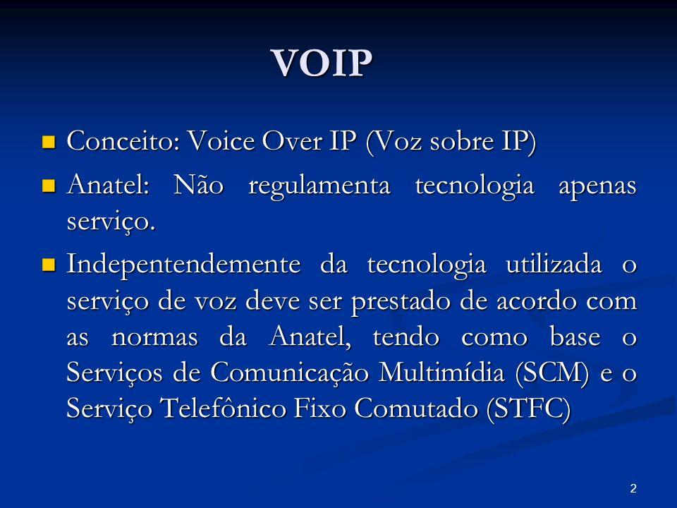 2 VOIP Conceito: Voice Over IP (Voz sobre IP) Conceito: Voice Over IP (Voz sobre IP) Anatel: Não regulamenta tecnologia apenas serviço. Anatel: Não re