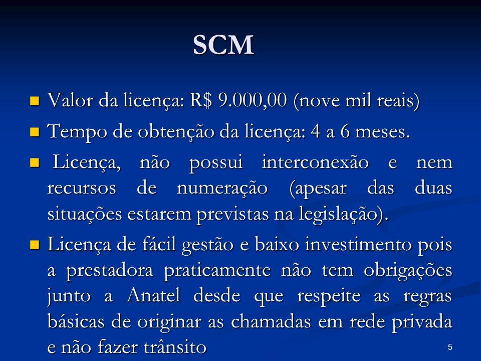 5 SCM Valor da licença: R$ 9.000,00 (nove mil reais) Valor da licença: R$ 9.000,00 (nove mil reais) Tempo de obtenção da licença: 4 a 6 meses. Tempo d