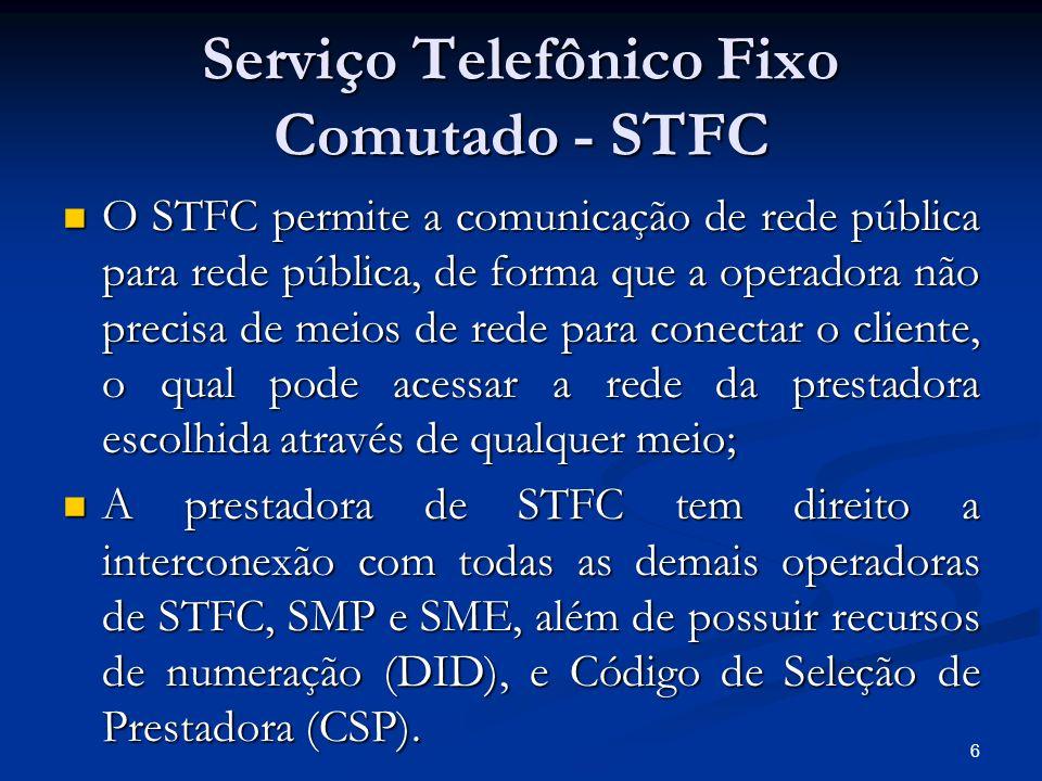 6 Serviço Telefônico Fixo Comutado - STFC O STFC permite a comunicação de rede pública para rede pública, de forma que a operadora não precisa de meio
