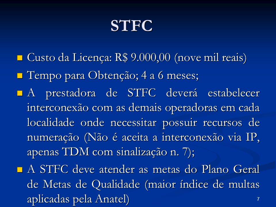 7 STFC Custo da Licença: R$ 9.000,00 (nove mil reais) Custo da Licença: R$ 9.000,00 (nove mil reais) Tempo para Obtenção; 4 a 6 meses; Tempo para Obte