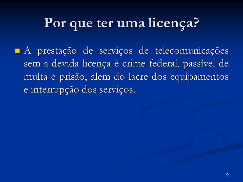 9 Por que ter uma licença? A prestação de serviços de telecomunicações sem a devida licença é crime federal, passível de multa e prisão, alem do lacre