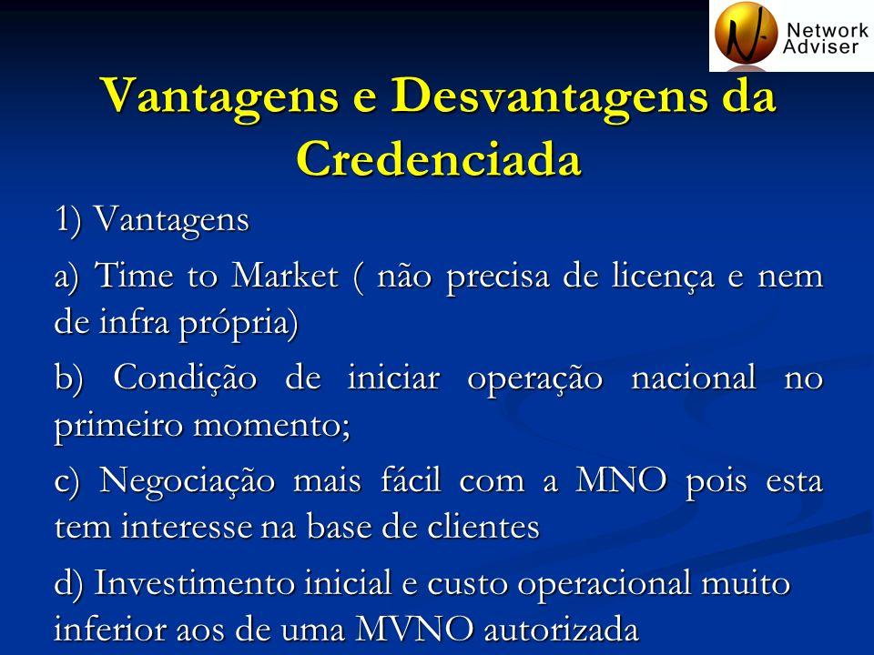Vantagens e Desvantagens da Credenciada 1) Vantagens a) Time to Market ( não precisa de licença e nem de infra própria) b) Condição de iniciar operaçã