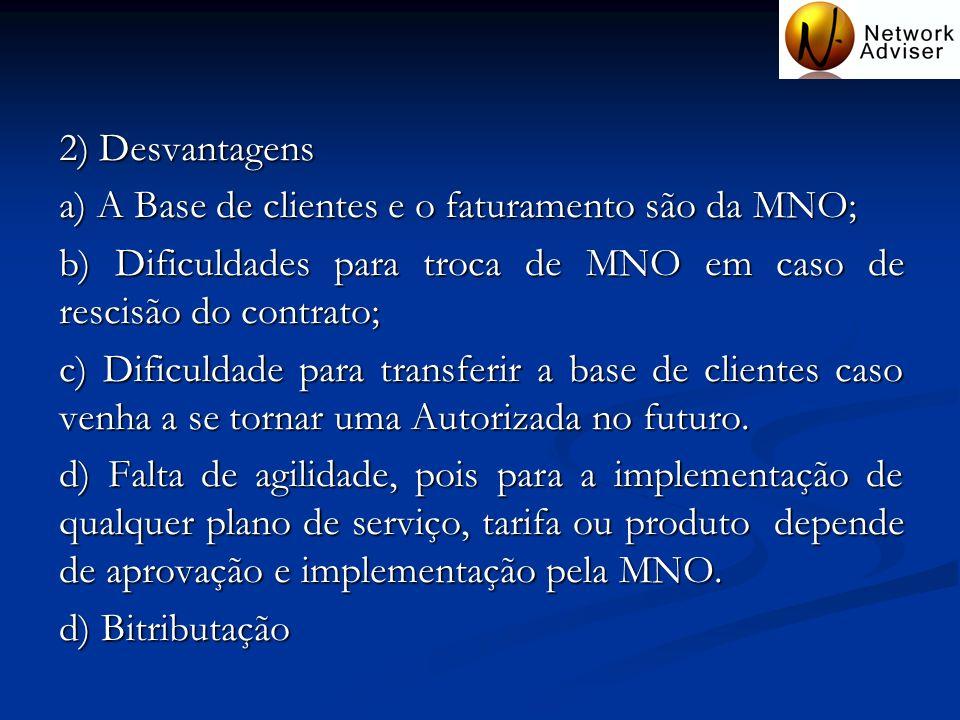 2) Desvantagens a) A Base de clientes e o faturamento são da MNO; b) Dificuldades para troca de MNO em caso de rescisão do contrato; c) Dificuldade pa