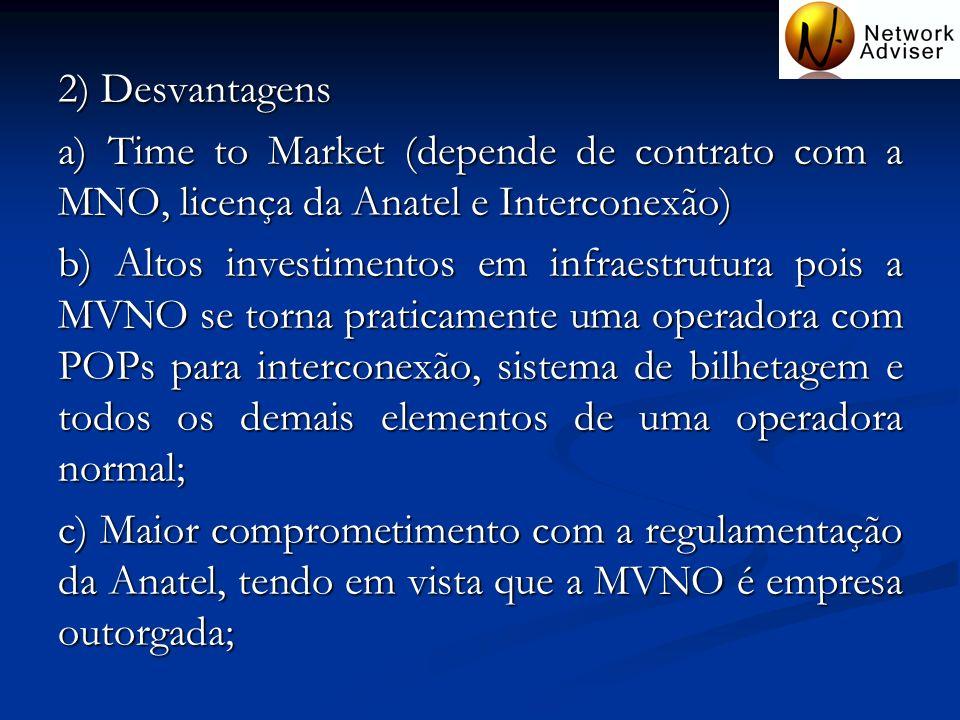 2) Desvantagens a) Time to Market (depende de contrato com a MNO, licença da Anatel e Interconexão) b) Altos investimentos em infraestrutura pois a MV