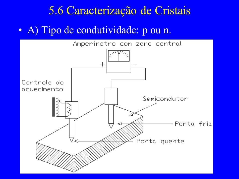 5.6 Caracterização de Cristais A) Tipo de condutividade: p ou n.