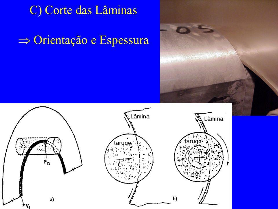 C) Corte das Lâminas Orientação e Espessura