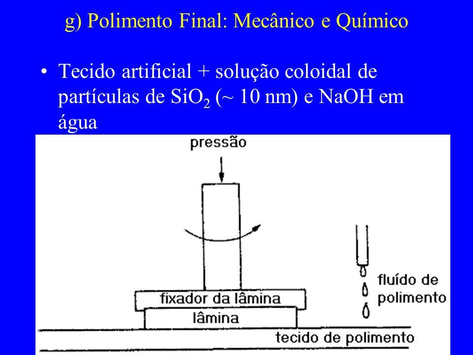 g) Polimento Final: Mecânico e Químico Tecido artificial + solução coloidal de partículas de SiO 2 (~ 10 nm) e NaOH em água