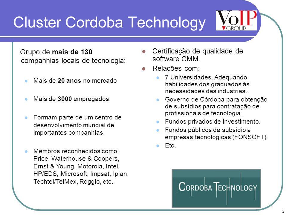 3 Cluster Cordoba Technology Certificação de qualidade de software CMM. Relações com: 7 Universidades. Adequando habilidades dos graduados às necessid