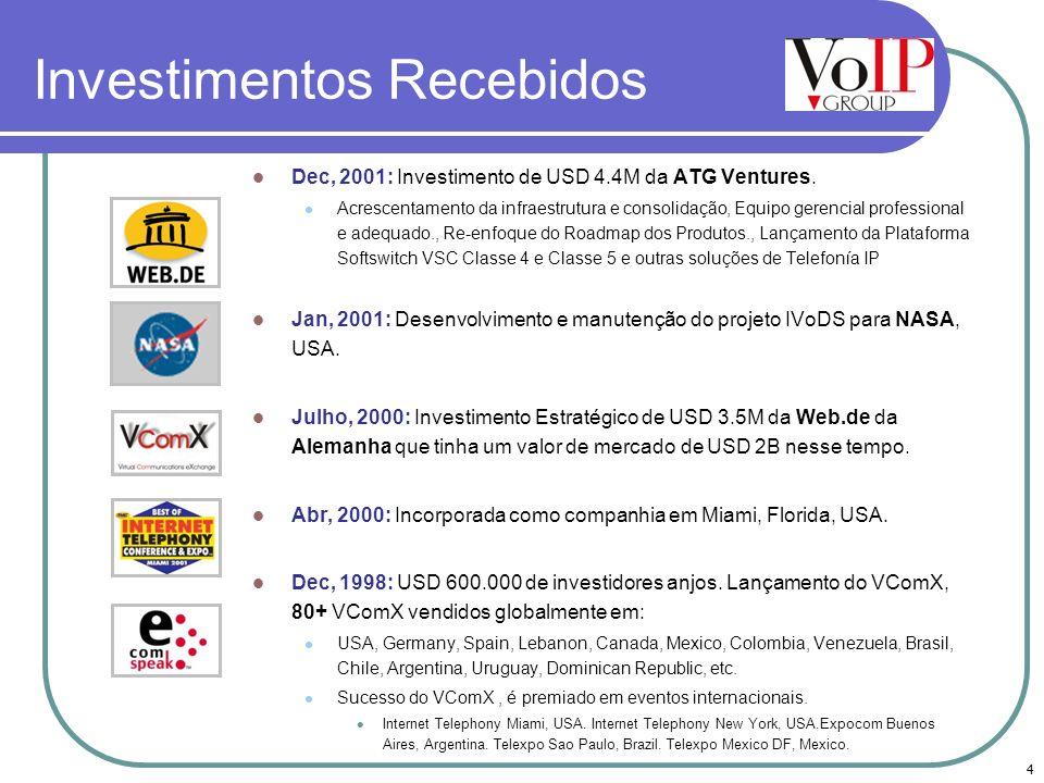 4 Investimentos Recebidos Dec, 2001: Investimento de USD 4.4M da ATG Ventures. Acrescentamento da infraestrutura e consolidação, Equipo gerencial prof