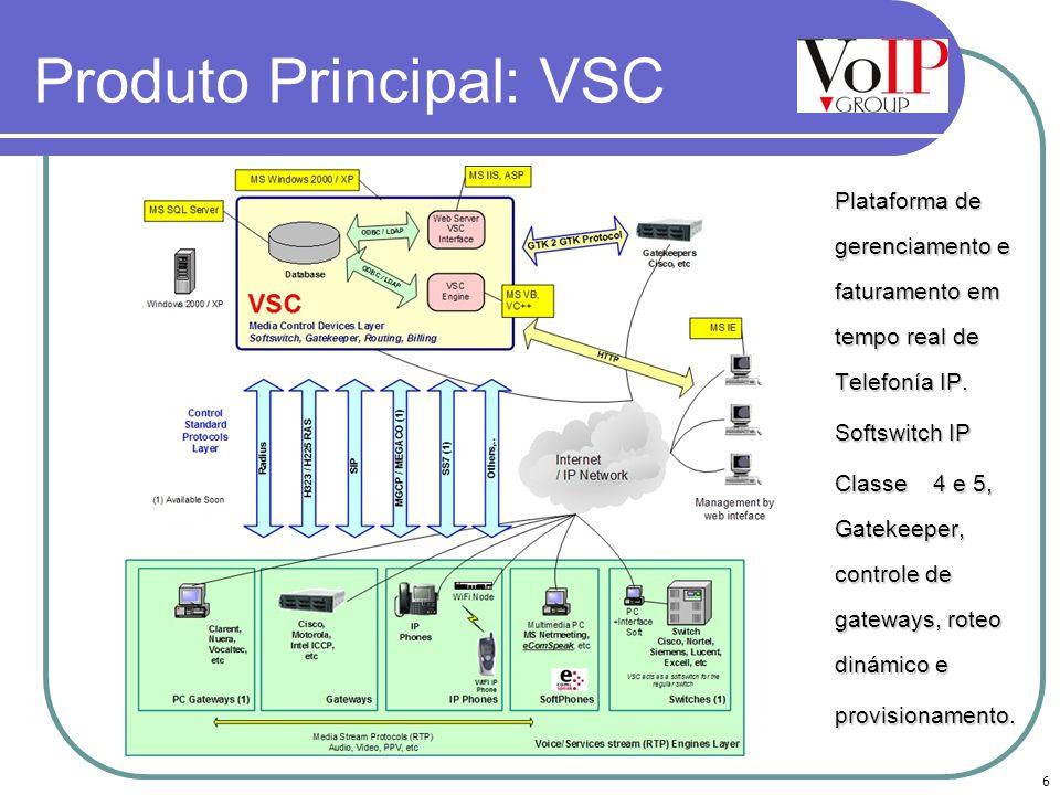6 Produto Principal: VSC Plataforma de gerenciamento e faturamento em tempo real de Telefonía IP. Plataforma de gerenciamento e faturamento em tempo r
