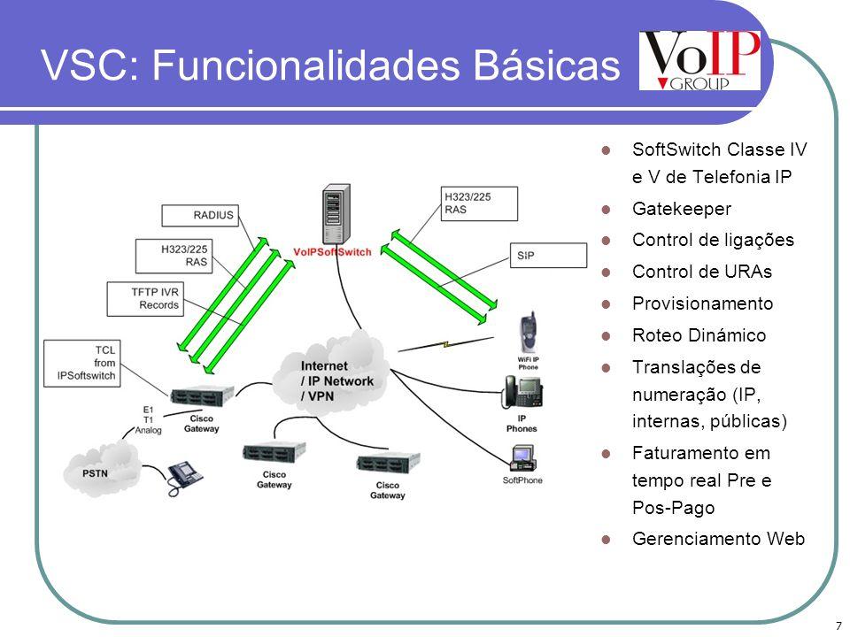 7 VSC: Funcionalidades Básicas SoftSwitch Classe IV e V de Telefonia IP Gatekeeper Control de ligações Control de URAs Provisionamento Roteo Dinámico