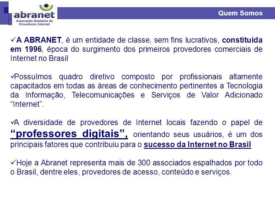 Quem Somos A ABRANET, é um entidade de classe, sem fins lucrativos, constituída em 1996, época do surgimento dos primeiros provedores comerciais de In