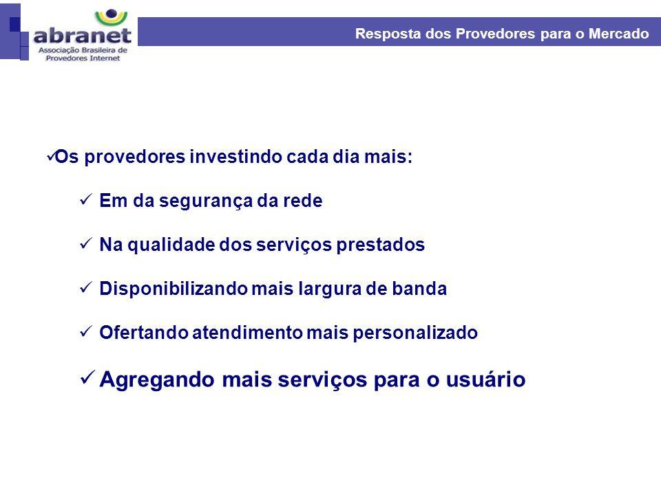 Resposta dos Provedores para o Mercado Os provedores investindo cada dia mais: Em da segurança da rede Na qualidade dos serviços prestados Disponibili