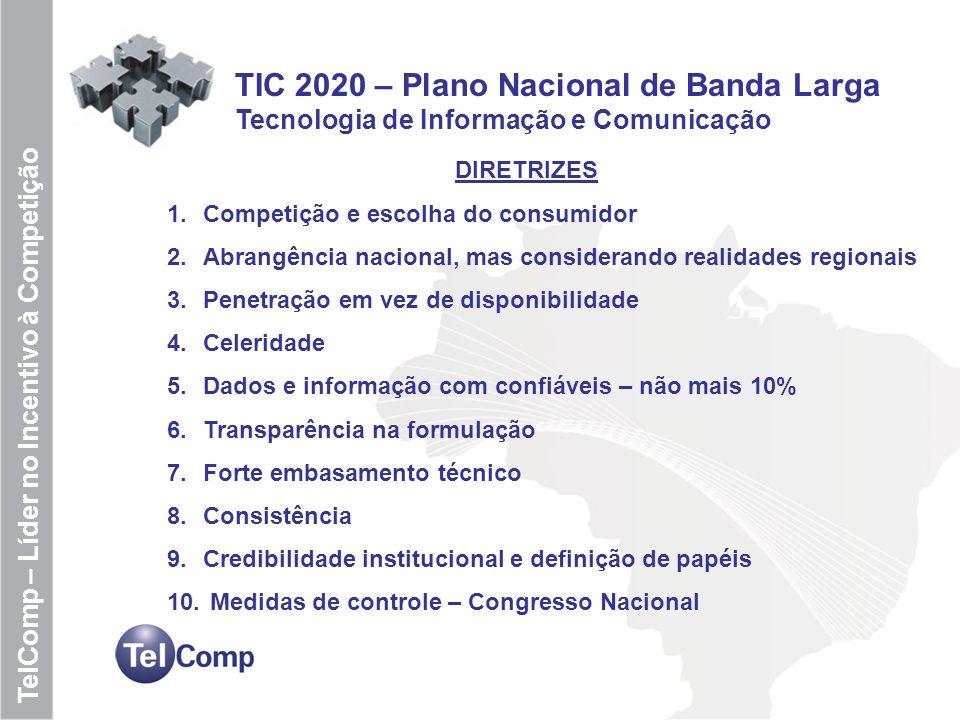 10 TelComp – Líder no Incentivo à Competição TIC 2020 – Plano Nacional de Banda Larga Tecnologia de Informação e Comunicação DIRETRIZES 1.Competição e