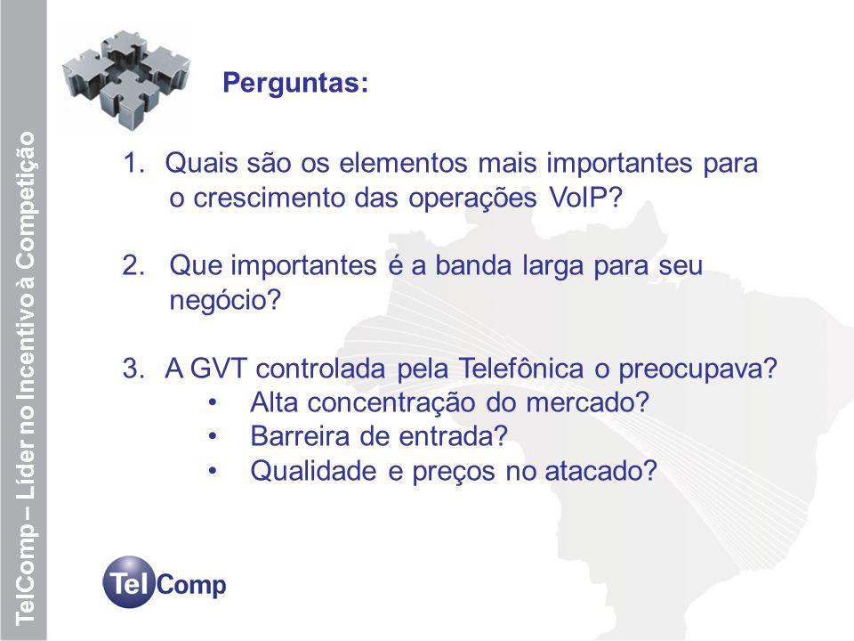 11 TelComp – Líder no Incentivo à Competição Perguntas: 1.Quais são os elementos mais importantes para o crescimento das operações VoIP? 2. Que import