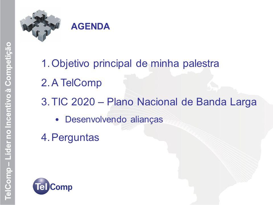 2 TelComp – Líder no Incentivo à Competição AGENDA 1.Objetivo principal de minha palestra 2.A TelComp 3.TIC 2020 – Plano Nacional de Banda Larga Desen