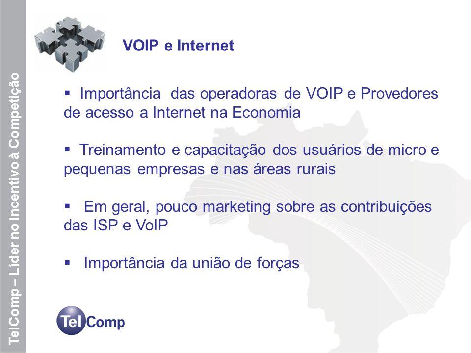 7 TelComp – Líder no Incentivo à Competição VOIP e Internet Importância das operadoras de VOIP e Provedores de acesso a Internet na Economia Treinamen