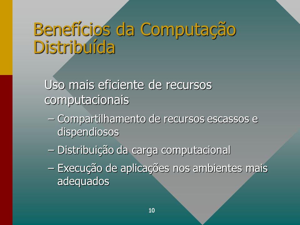 10 Benefícios da Computação Distribuída Uso mais eficiente de recursos computacionais –Compartilhamento de recursos escassos e dispendiosos –Distribui