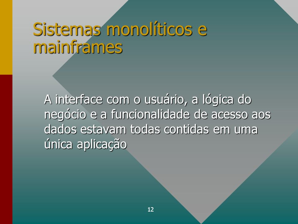 12 Sistemas monolíticos e mainframes A interface com o usuário, a lógica do negócio e a funcionalidade de acesso aos dados estavam todas contidas em u