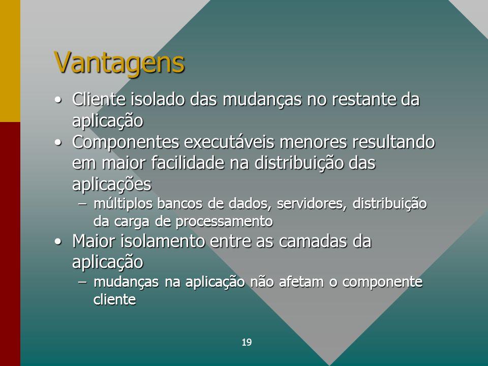 19 Vantagens Cliente isolado das mudanças no restante da aplicaçãoCliente isolado das mudanças no restante da aplicação Componentes executáveis menore