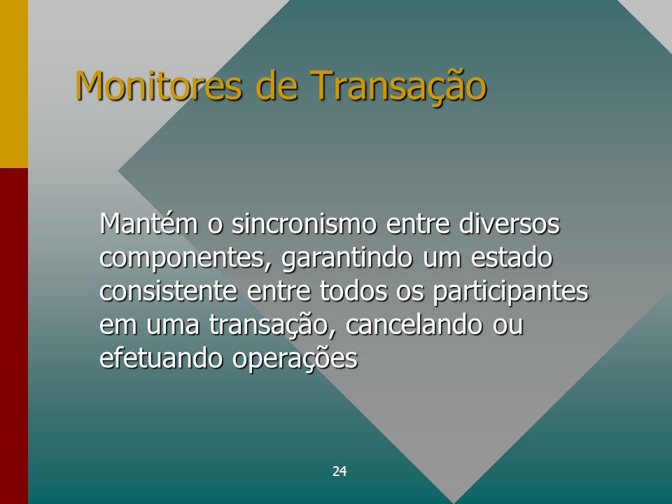 24 Monitores de Transação Mantém o sincronismo entre diversos componentes, garantindo um estado consistente entre todos os participantes em uma transa
