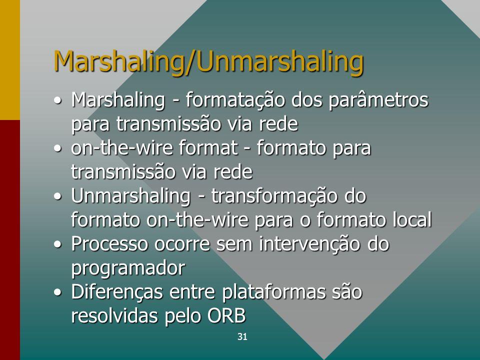 31 Marshaling/Unmarshaling Marshaling - formatação dos parâmetros para transmissão via redeMarshaling - formatação dos parâmetros para transmissão via