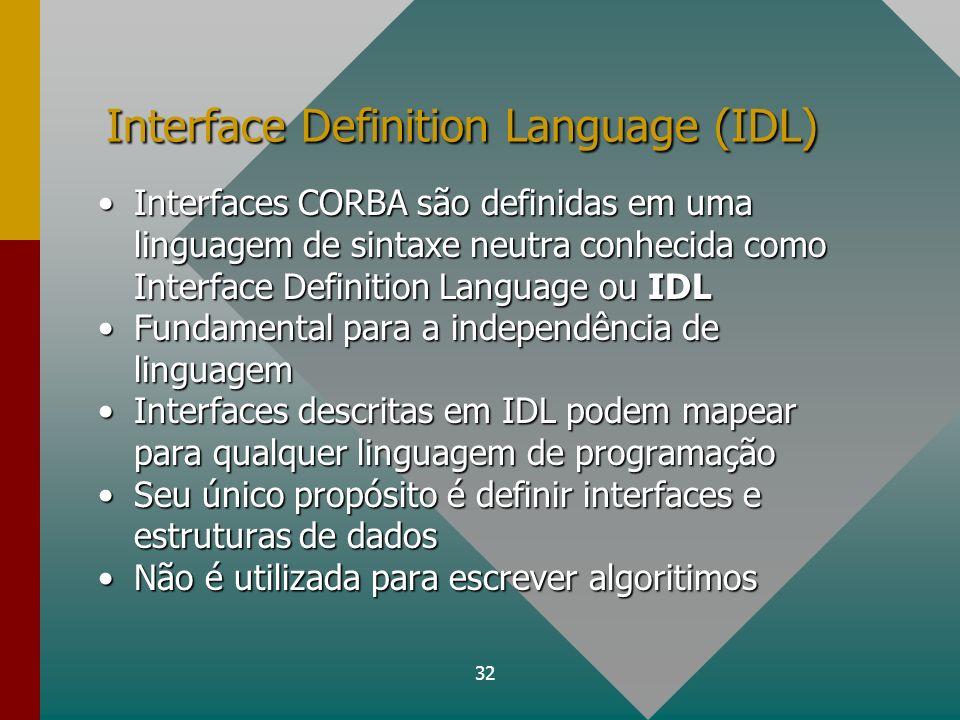 32 Interface Definition Language (IDL) Interfaces CORBA são definidas em uma linguagem de sintaxe neutra conhecida como Interface Definition Language