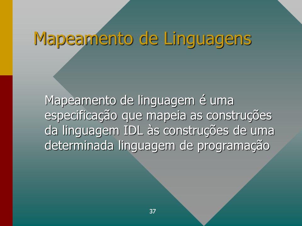 37 Mapeamento de Linguagens Mapeamento de linguagem é uma especificação que mapeia as construções da linguagem IDL às construções de uma determinada l