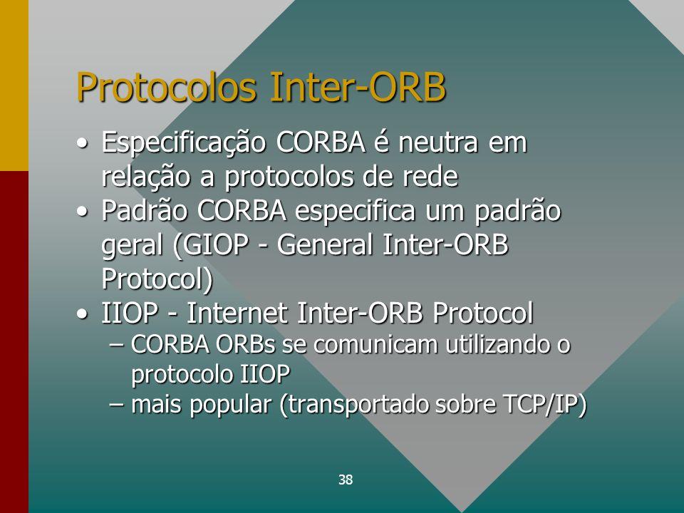 38 Protocolos Inter-ORB Especificação CORBA é neutra em relação a protocolos de redeEspecificação CORBA é neutra em relação a protocolos de rede Padrã