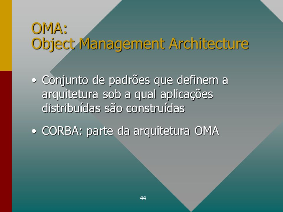 45 OMA: Componentes ORB (Object Request Broker)ORB (Object Request Broker) serviços de objetos (CORBAservices)serviços de objetos (CORBAservices) recursos comuns (CORBAfacilities)recursos comuns (CORBAfacilities) Interfaces de domínio (domain interfaces)Interfaces de domínio (domain interfaces) objetosobjetos