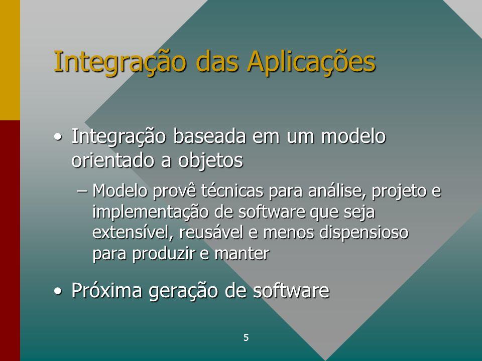 5 Integração das Aplicações Integração baseada em um modelo orientado a objetosIntegração baseada em um modelo orientado a objetos –Modelo provê técni
