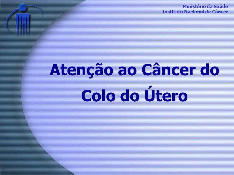 Ministério da Saúde Instituto Nacional de Câncer Histórico 1984 – O controle do câncer do colo do útero como uma das prioridades do Programa da Mulher 1996 - Projeto Piloto 1998 - Primeira Campanha 2000 - Programa implantado no país 2002 – Segunda Campanha