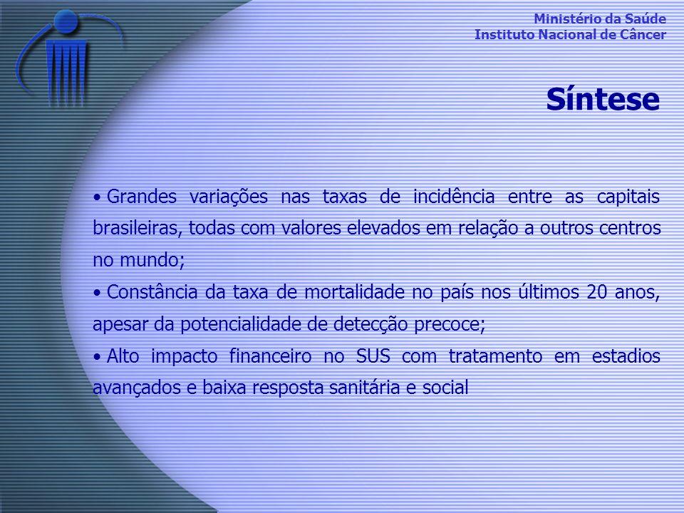 Ministério da Saúde Instituto Nacional de Câncer Síntese Grandes variações nas taxas de incidência entre as capitais brasileiras, todas com valores el