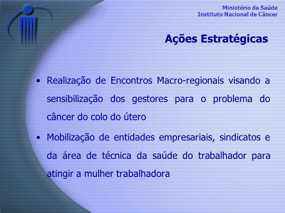 Ministério da Saúde Instituto Nacional de Câncer Ações Estratégicas Realização de Encontros Macro-regionais visando a sensibilização dos gestores para
