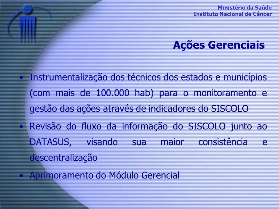 Ministério da Saúde Instituto Nacional de Câncer Instrumentalização dos técnicos dos estados e municípios (com mais de 100.000 hab) para o monitoramen
