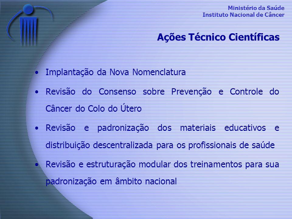 Ministério da Saúde Instituto Nacional de Câncer Ações Técnico Científicas Implantação da Nova Nomenclatura Revisão do Consenso sobre Prevenção e Cont