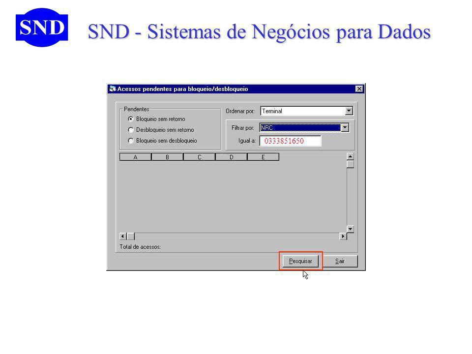SND - Sistemas de Negócios para Dados SND - Sistemas de Negócios para Dados 0333851650