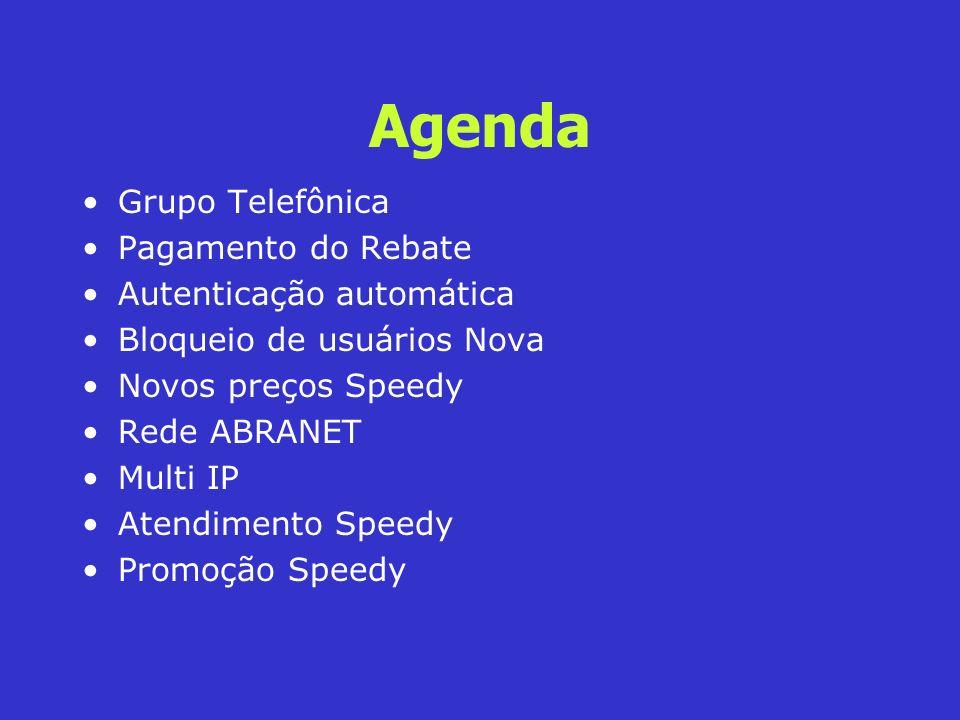 Agenda Grupo Telefônica Pagamento do Rebate Autenticação automática Bloqueio de usuários Nova Novos preços Speedy Rede ABRANET Multi IP Atendimento Sp