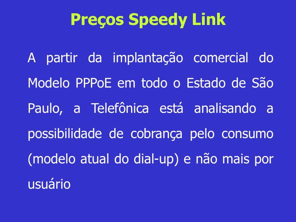 Preços Speedy Link A partir da implantação comercial do Modelo PPPoE em todo o Estado de São Paulo, a Telefônica está analisando a possibilidade de co