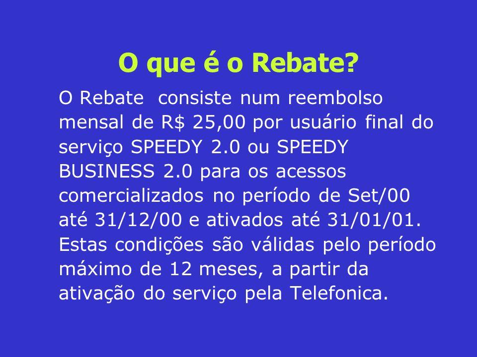 O que é o Rebate? O Rebate consiste num reembolso mensal de R$ 25,00 por usuário final do serviço SPEEDY 2.0 ou SPEEDY BUSINESS 2.0 para os acessos co