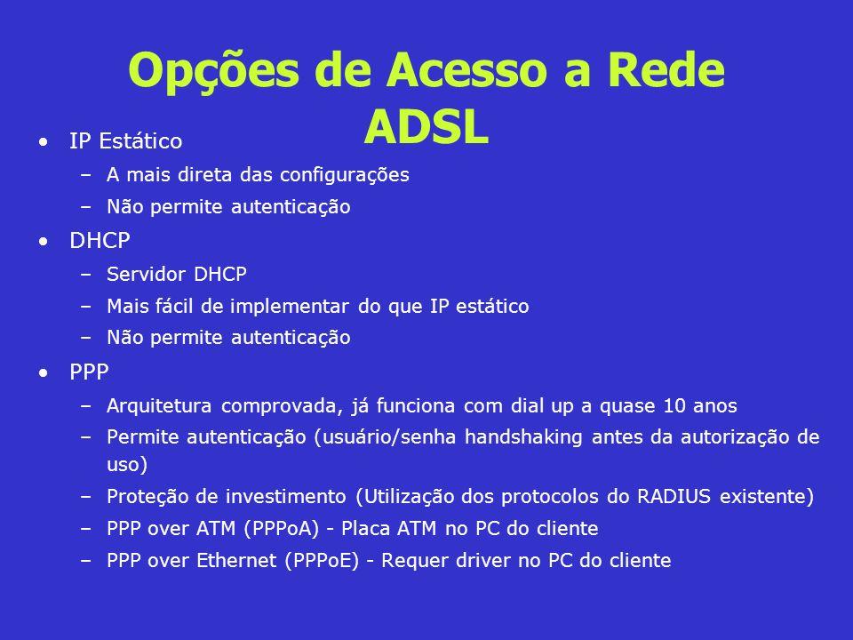 Opções de Acesso a Rede ADSL IP Estático –A mais direta das configurações –Não permite autenticação DHCP –Servidor DHCP –Mais fácil de implementar do
