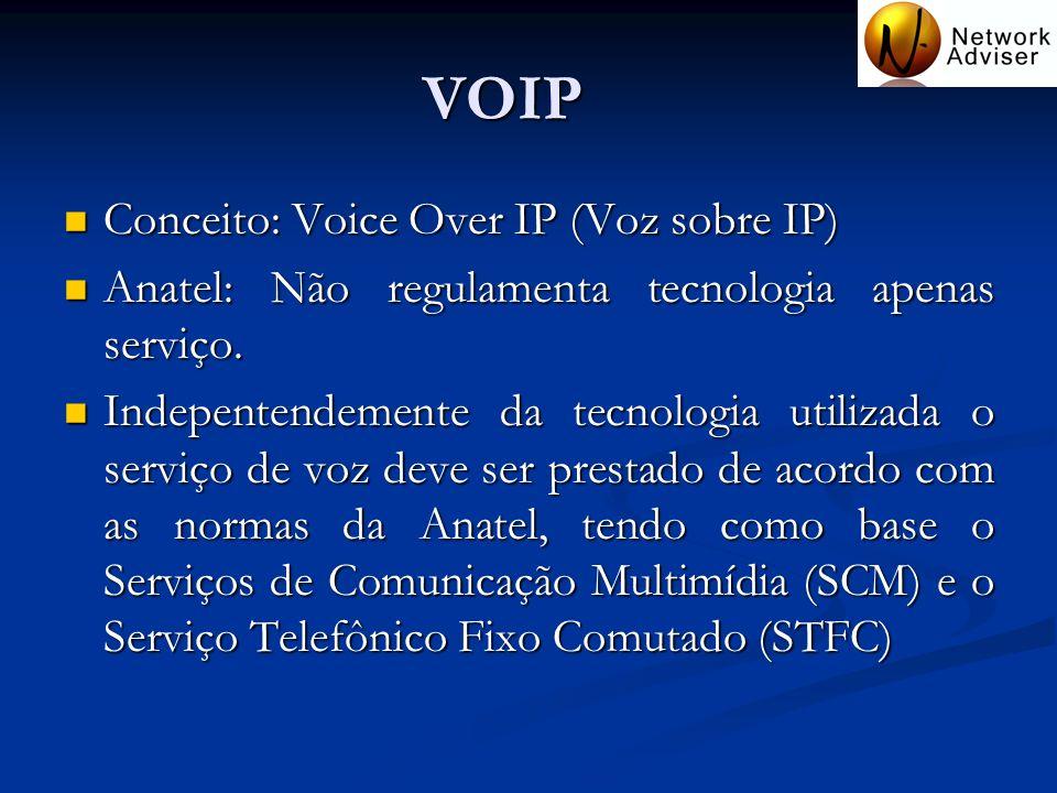 VOIP Conceito: Voice Over IP (Voz sobre IP) Conceito: Voice Over IP (Voz sobre IP) Anatel: Não regulamenta tecnologia apenas serviço. Anatel: Não regu