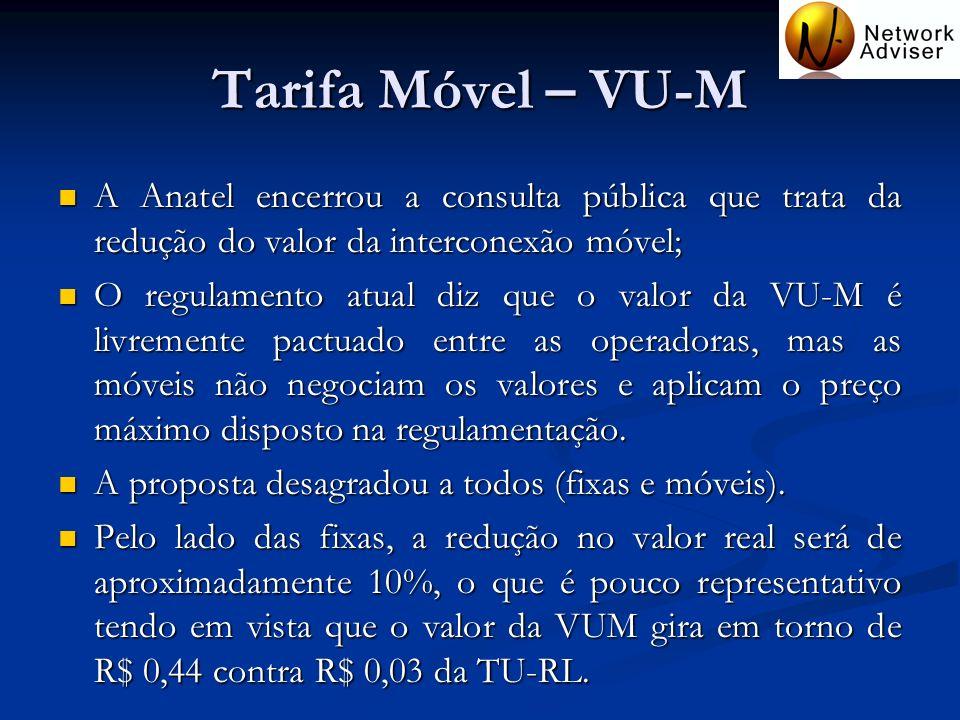 Tarifa Móvel – VU-M A Anatel encerrou a consulta pública que trata da redução do valor da interconexão móvel; A Anatel encerrou a consulta pública que